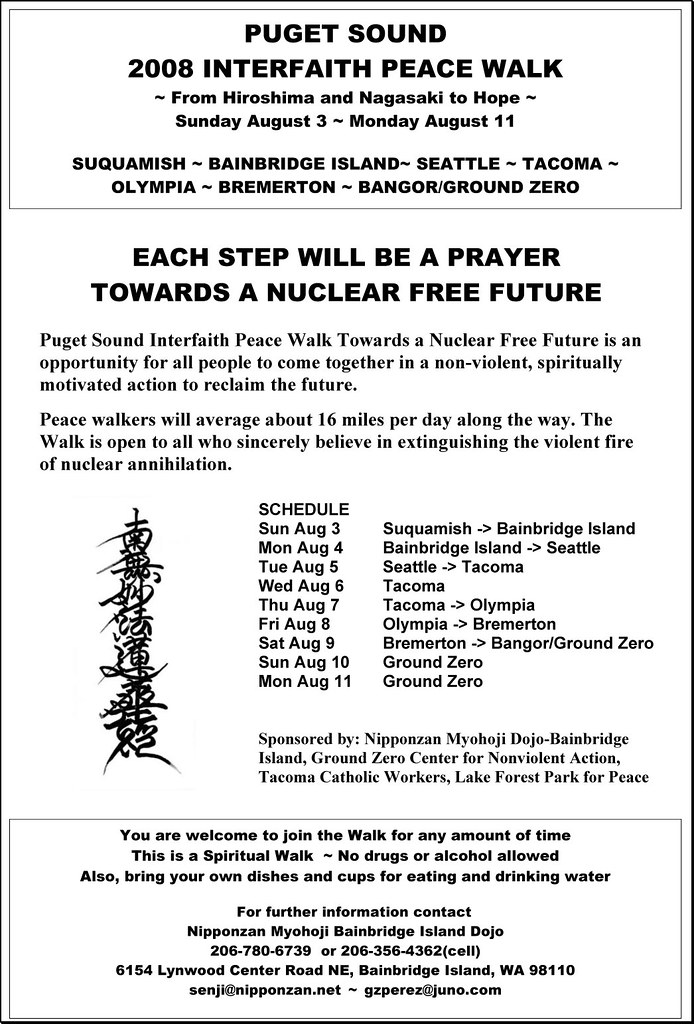 Puget Sound 2008 Interfaith Peace Walk Flyer