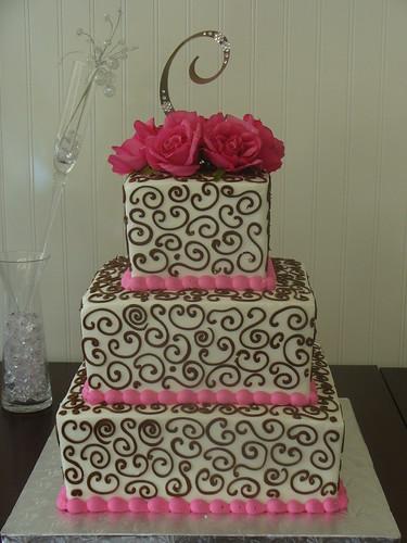 2760265559 281f46d789 d Baú de idéias: Bolo de casamento rosa e marrom I