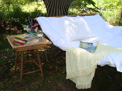 if only... (mayalu) Tags: summer vintage outdoor books dreaming hammock tray stool chenille coverlet