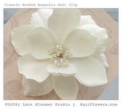 Magnolia_Flower_Hair_Clip (hairflowers.com) Tags: wedding vacation orchid flower beach rose hair honeymoon silk clip tropical bridal gardenia flowerhairclip flowerforhair bridalflowerhairclip weddingflowerhair gardeniaflowerforhair