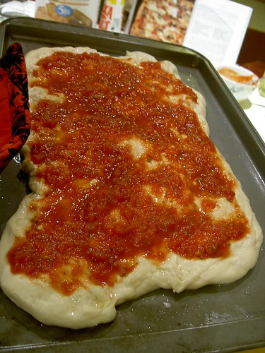 The base and tomato before it went in the oven