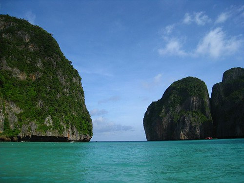 View of Maya Bay from the beach