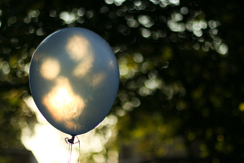 beautiful blue bokeh balloon