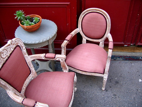 pink French chairs, via Flickr: Gabri Le Cabri