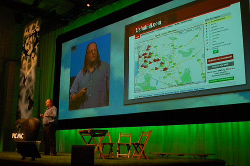 Ethan Zuckerman at Picnic, showing Ushahidi