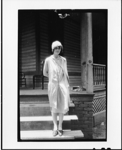 "Ova Corvin (""Precious"") Rappleyea, standing on steps of the Defense Mansion, July 1925, by Watson Da"