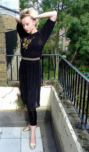 Vintage Sunray Pleated Dress