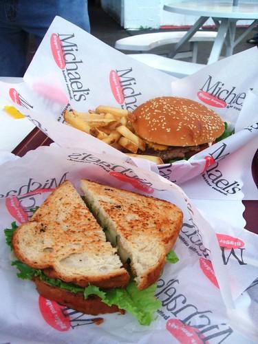 Veggie sandwich and burger