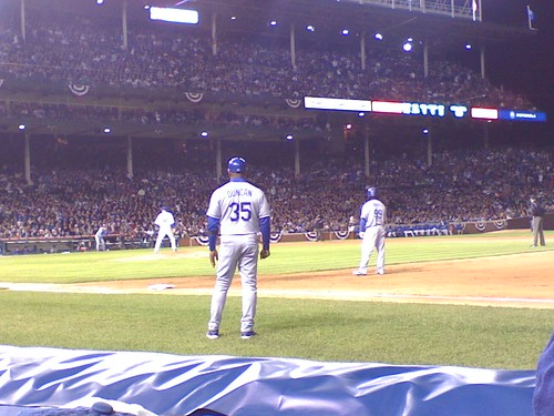Cubs Dodgers - Manny on 1st base
