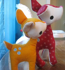 Little Deer/Explored (chelstastic) Tags: christmas red orange stuffedtoy cute yellow deer spots fawn
