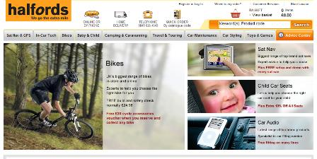 Halfords homepage