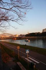 on the river (ef@) Tags: bridge trees canon river boat krakow walkway bikelane krakoff mywinners abigfave