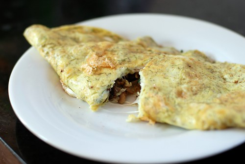 Dill and smoked mozarella omelette with cremini mushrooms