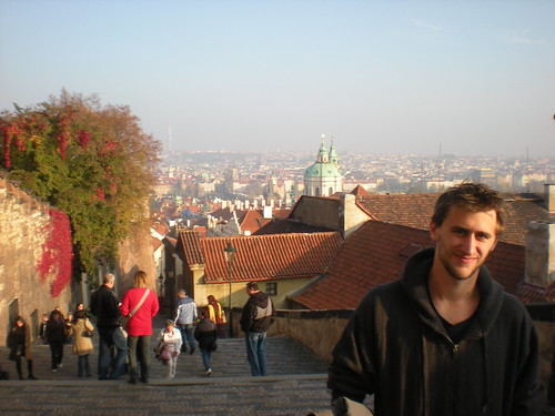 Sean overlooking the city of Prague, Czech Republic on stairs leading to the city castle on Oct. 25, 2008.