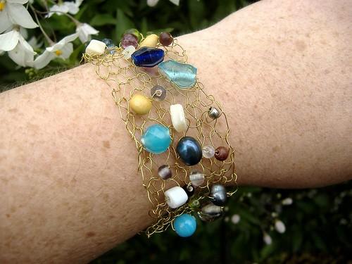 knit bracelet on wrist