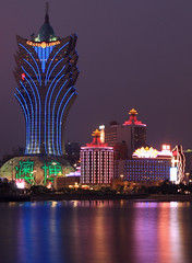 Viva Macau (A Sutanto) Tags: china new old lake reflection building night lights colorful bright lisboa casino led dome manmade tall macau casinos southchina macao casinolisboa namvan grandlisboa