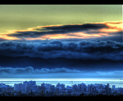City Under Sky (ecstaticist) Tags: ocean city sky urban cloud mountain canada building water skyline architecture contrast photoshop de downtown bc juan britishcolumbia lol wave victoria casio mount telephoto hdr topaz adjust fuca tolmie 5x photomatic exf1 vosplusbellesphotos