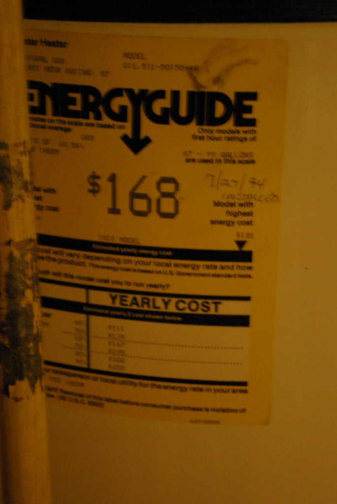 Energyguide for the hot water heater