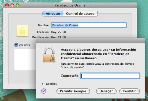 Captura de pantalla de la utilidad Acceso a Llaveros de Mac OS X mostrando el diálogo de petición de contraseña de administrador