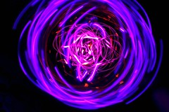 wiggly (caffeina) Tags: longexposure lightpainting motion blur color bulb lights movement experiment led kinetic streaks pendulum blinking
