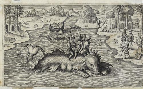 005- Nativos de America del Sur sobre un monstruo marino