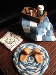 breakfast in bed (jewelsb78(thefrostedcakencookie)) Tags: blue coffee breakfast newspaper bed quilt cinnamon toast cupcake starbucks blanket tray rug scone woodenfloor slippers breakfastinbed gumpaste throwdown bluemonday thetimes braidedrug cinnamontoastscone lazymansbreakfastinbed