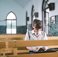 ipod (HaoJan) Tags: lighting portrait film church girl kino ipod crying short