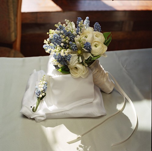 delicate winter bouquet, A winter bouquet of ranunculus, lily of the valley and muscari