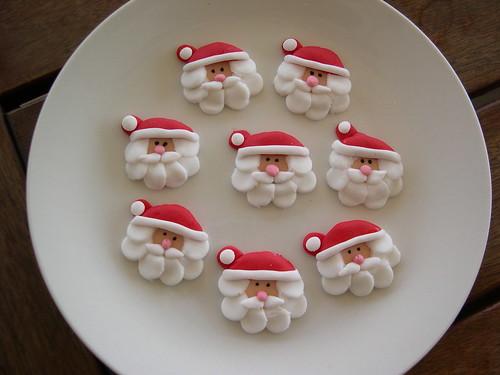 Natal cabeça queque Santa toppers