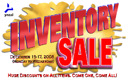 Ynzal Year-end Inventory Sale: Dec 15-17