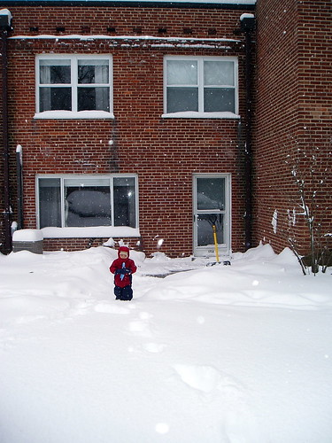 Owen clearing the sidewalk