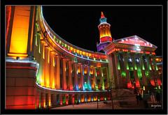 Denver City and County Hall (Ernie Reyes) Tags: christmas night lights colorado holidays glow cityhall illumination denver nightime multicolored afterdark