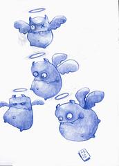 Angelitos de navidad// Christmas angels (^B^run) Tags: blue drawings angels sketches dibujos lpices bocetos brunofernndez
