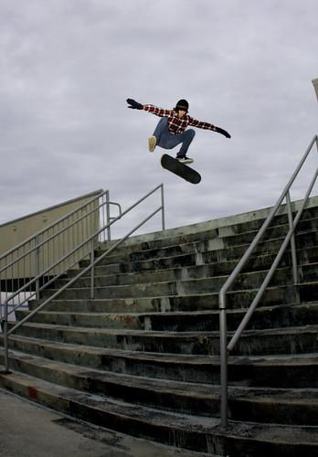 Steve; 12 Stair Kickflip by amandacphoto.