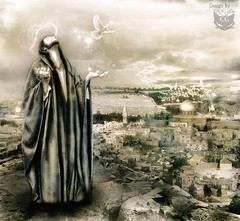 The peace of Jerusalem -   (  T_ !  ) Tags: city sky woman man girl cat design peace dove jerusalem pray mosque kuwait q8