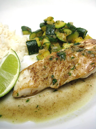 Halibut with Zucchini and Garlic Mojo