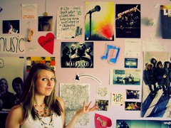 The Wall...of Music (rita | v) Tags: portrait people musician music color me girl wall writing self ball print poster disco photo necklace words lyrics sticker heart bell song room text band piano picture mainstay note melody ornament sp singer microphone arrow switchfoot russian relientk superchick justree thisisprobablythemosttagsiveeverwrittenforonepicture0o