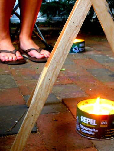 flip flops and candles