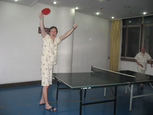 Ping-pong in PJs at a Chinese spa (~3am)