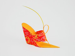 Red Yellow Wedge (Carlos N. Molina - Paper Art) Tags: sculpture art paper paperart shoe miniatures shoes origami highheels arte puertorico fineart arts craft carlos structure architectural zapatos form folded papel papershoe folding pape papercraft molina architectonic calzado puertoricanart papersculpture culpture  esculptura fashionillustration