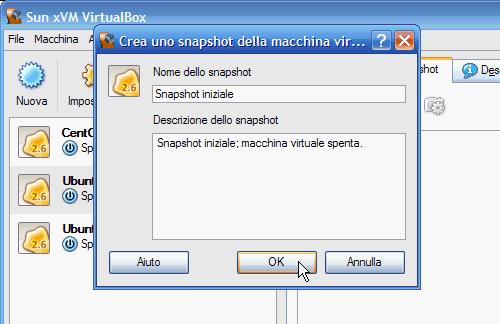 Fig 4 - VirtualBox snapshot - finestra di dialogo creazione snapshot