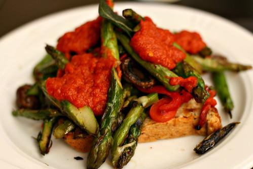 Asparagus and Mushroom Tartine
