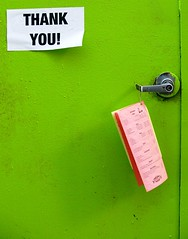 Thank you (Darwin Bell) Tags: door green sign menu handle thankyou taped supershot 50faves 10faves mywinners