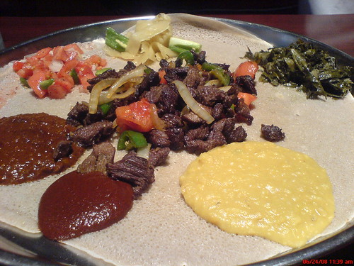 Ethiopian entrees on injera