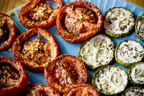 Roasted Plum Tomatoes and Zucchini