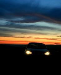 Eyes (The Groovster) Tags: sunset car silhouette wales vw night clouds lights carheadlights golfgttdi thegroovster mynyddmaendy welshklickrcymru