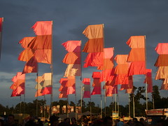 WOMAD pink flags
