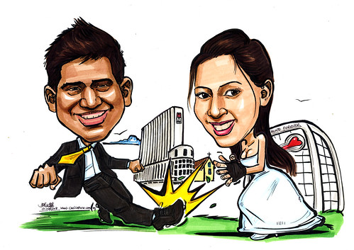 Couple wedding caricatures Striker and Goalkeeper M Hotel church