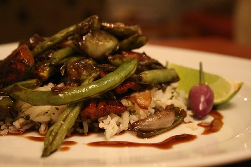 Green bean, Bacon, and Spicey Tamarind Stirfry.