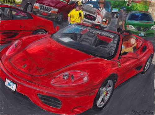 A coloured pencil drawing of a Ferrari 360 Spider.